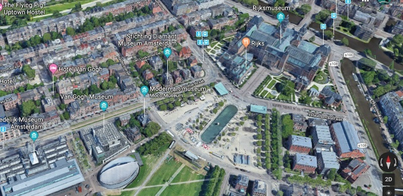 Arial view of Museumplein with Rijksmuseum and Van Goghmuseum