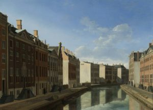 17th century painting by Berckheyde of the Golden bend of the Herengracht